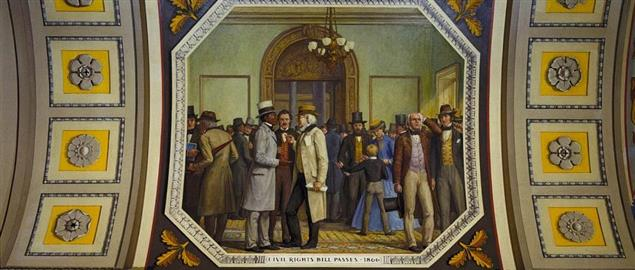 US Capitol mural, former slave Henry Garnet is shown with newpaper editor Horace Greeley.