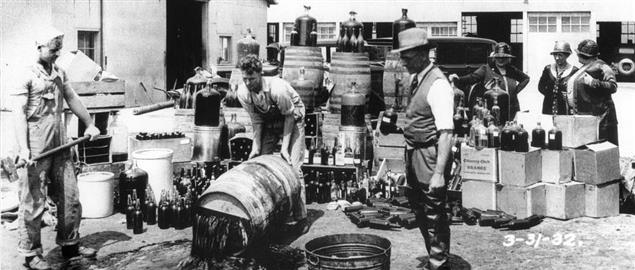 Authorities in Orange County California dumping illegal liquor during prohibition