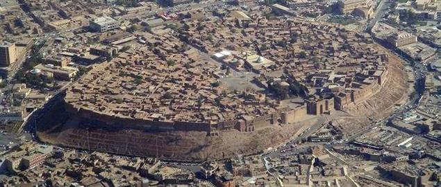 Aerial view of the Citadel of Arbil (Iraq)