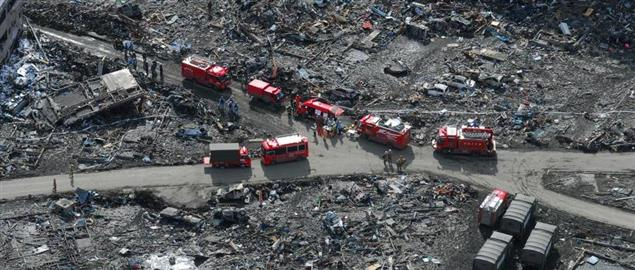 Aerial view of Japanese Disaster Relief crews, after 9.0 magnitude earthquake and tsunami.