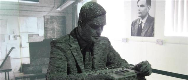 Turing in slate at Bletchley Park. People who knew him say this takes their breath away.