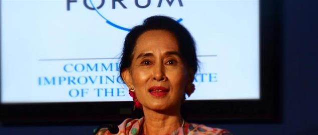 Aung San Suu Kyi at the World Economic Forum in Naypyidaw, Myanmar