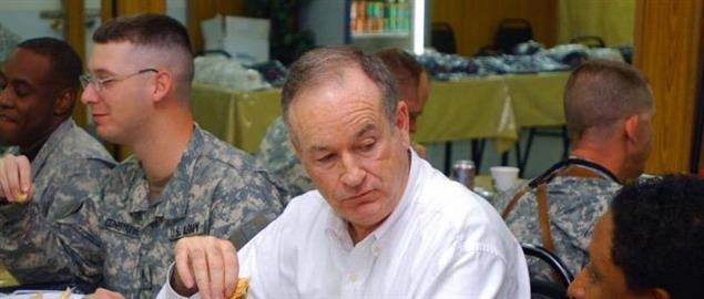 Talk-show host Bill O'Reilly at the Camp Striker dining facility