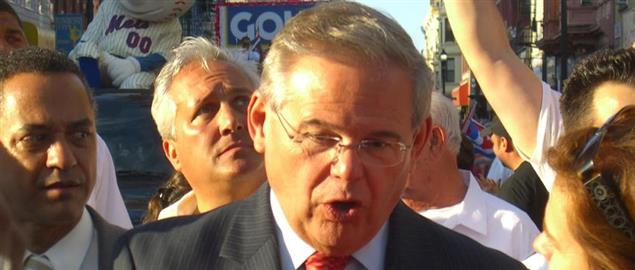 Bob Menendez being interviewed during the 11th annual Cuban Day Parade