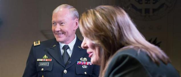 General Dempsey with CNN news anchor Candy Crowley at the Pentagon