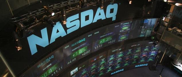 NASDAQ stock market displays at Times Square