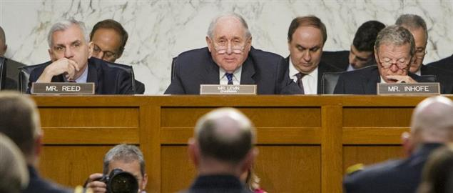 Senators Levin, Reed, and Inhofe questioning military leaders over sexual assault.