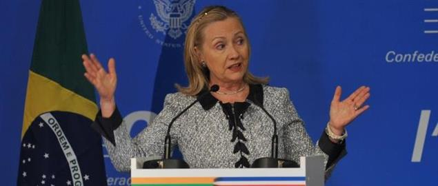 Hillary Clinton speaking at the Confederação Nacional da Indústria on April 21, 2012