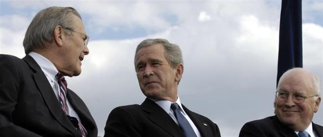 Sec. Rumsfeld, President Bush, and Vice President Cheney at Rumsfeld's farewell parade