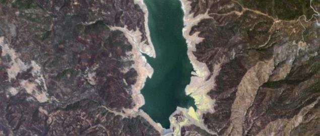 Satellite image showing major drought in California's Indian Valley Reservoir