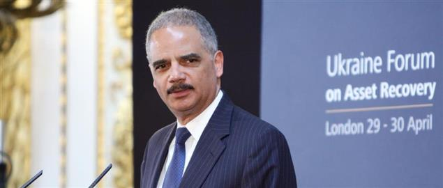 Eric Holder at the Ukraine Forum on Asset Recovery in London in 2014