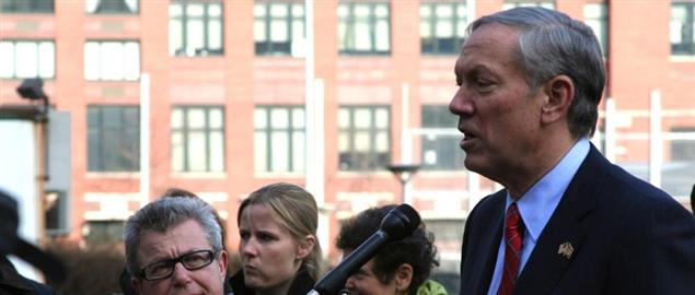 George Pataki speaking outside of Battery Park