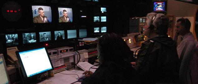 PBS Newshour control room during an interview with Gen. Peter Pace in 2005