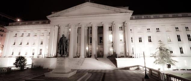 Night time view of the Department of the Treasury