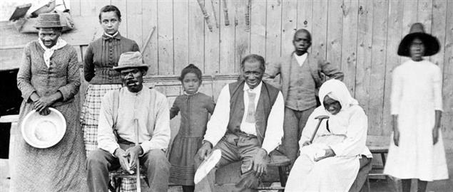 Harriet Tubman, far left, with family and neighbors