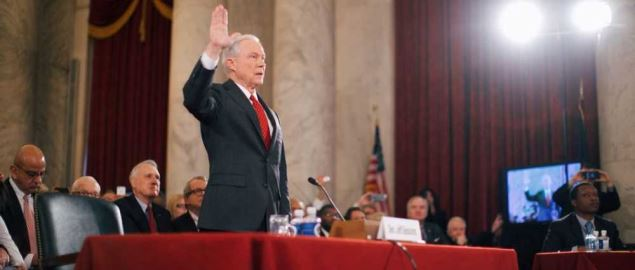 Jeff Sessions swearing in at his confirmation hearing for Attorney General