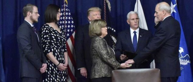 John Kelly being sworn in as Secretary of Defense by Vice President Pence