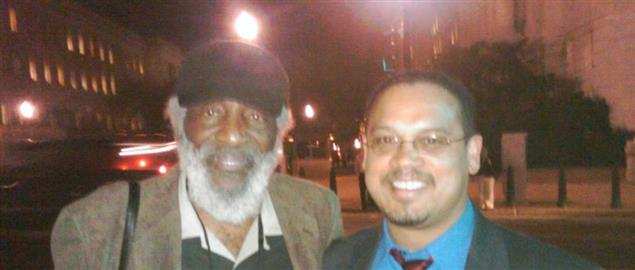 Civil Rights activist and comedian Dick Gregory with Minnesota Congressman Keith Ellison