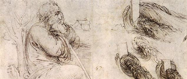 ''Old Man with Water Studies (c. 1513) drawing by Leonardo da Vinci, possibly of self.