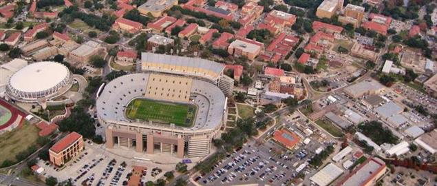 Aerial view of Louisiana State University's campus and Tiger Stadium