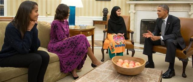 Nobel Peace Prize Winner Malala Yousafzai visiting the Oval Office in October of 2013