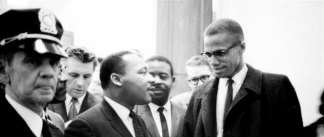 Martin Luther King and Malcolm X waiting for press conference.