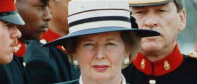 Margaret Thatcher reviewing Bermudian troops