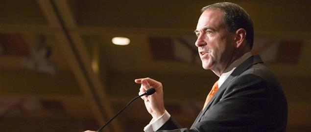 Former Arkansas Governor, Mike Huckabee, at a speaking engagement in Southern California.