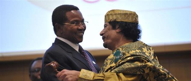 Gaddafi with Tanzanian President Kikwete after assuming the chairmanship of the AU