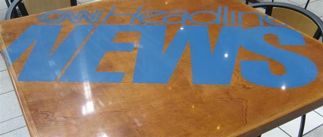 CNN Headline News logo on a table in the CNN Center