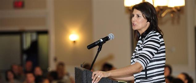 Gov. Nikki Haley speaks at Carolina Skies Club during the Women's History Month Luncheon.