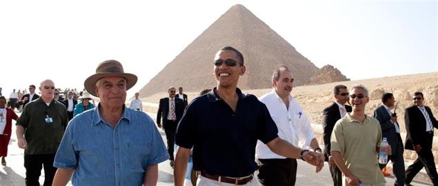 President Barack Obama and others touring the Pyramids and Sphinx in 2009