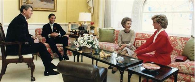 Prince Charles and Princess Diana meeting with the Reagans in 1985