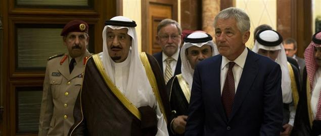 Secretary Hagel with Salman bin Abdulaziz al Saud of Saudi Arabia
