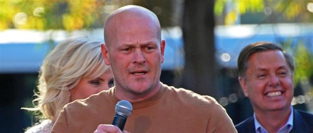 Joe the Plumber speaking at a McCain rally with Senator Graham and Cindy McCain