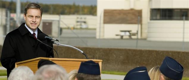 Sean Parnell delivering a proclamation at the 2008 POW/MIA recognition day in Alaska.