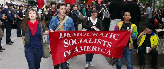 Members of the Democratic Socialists of America marching at an Occupy Wall Street protest