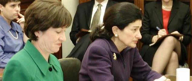 U.S. Senators from Maine Susan Collins (left) and Olympia Snowe (right). 8/3/2006.