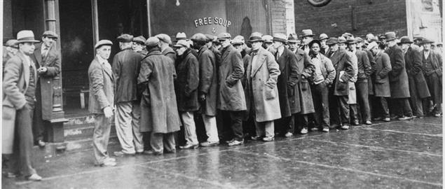 Unemployed men outside a Chicago soup kitchen during the Great Depression