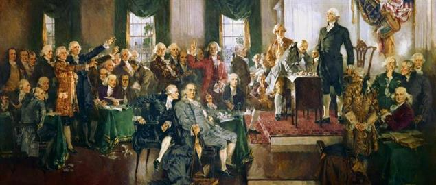 George Washington presiding over the signing of the Constitution in 1789