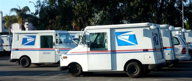Picture of United States Postal Service trucks in Culver City, California, USA.