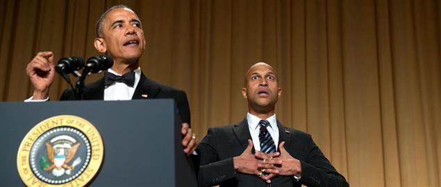 President Obama speaks at the WHCD with the help of comedic actor Keegan-Michael Key
