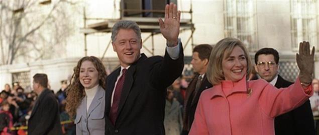 Bill and Hillary Clinton Waving to The Crowd