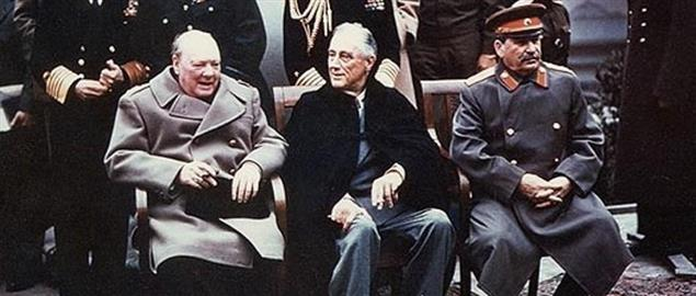 Roosevelt, Churchill, and Stalin at the Yalta Conference in 1945,